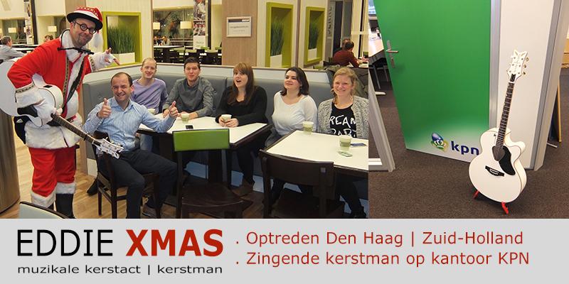Zingende kerstman 2015 | Den Haag Zuid Holland | KPN | Muzikale kerstman inhuren | Eddie Xmas | kerst troubadour boeken | kerst-act christmas