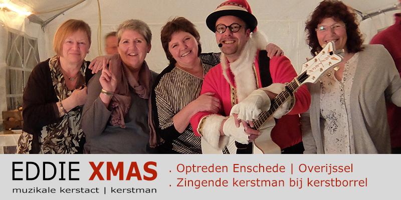 Zingende kerstman 2016 | Enschede Overijssel | Muzikale kerstman inhuren | Eddie Xmas | kerst troubadour boeken | kerst-act christmas