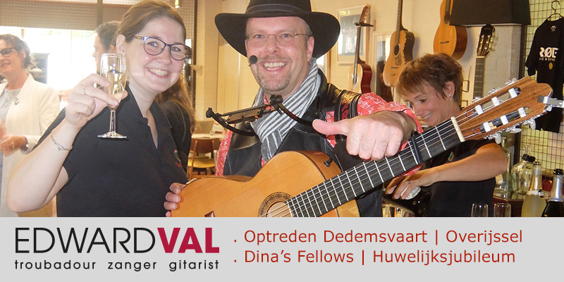 Zanger-gitarist-feest-Optreden-Dedemsvaart-Lunchroom-Dinas-Fellows-Troubadour-Edward-Val-boeken-Overijssel-Fellowship-of-Acoustics
