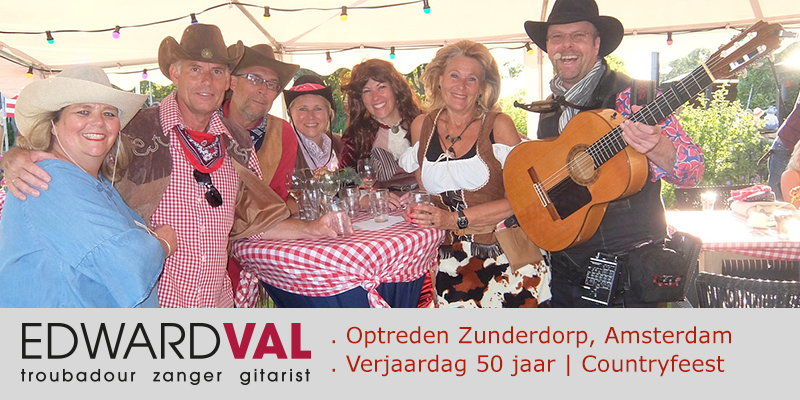 Zanger-gitarist-feest-Optreden-Zunderdorp-Amsterdam-Noord-Holland-Verjaardag-50-jaar-Tuinfeest-live-muziek-Edward-Val