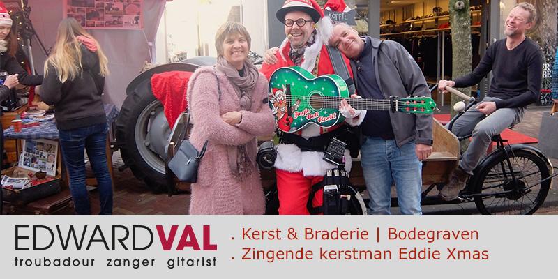 Bodegraven 1 | promotie artiest winkelcentrum zingende kerstman eddie xmas optreden braderie markt edward val zanger rondlopende entertainer