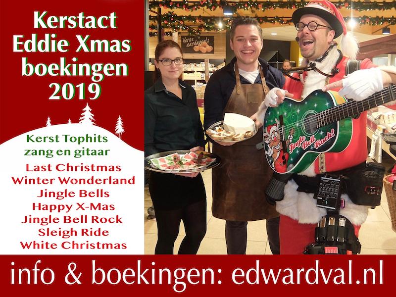 Eddie Xmas 2019-4 proeverij jumbo woerden troubadour christmas santa Edward Val | kerst act zanger gitarist inhuren kerstmarkt gezellige zingende kerstman senioren