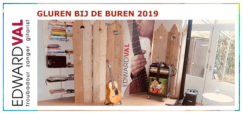 Gluren Bij de Buren Nijkerk 2019 | Huiskameroptreden concert voorstelling theater cabaret kleinkunst Edward Val zanger gitarist