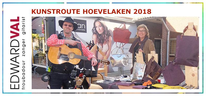 Kunstroute 2018 Hoevelaken | Mobiele live muziek | Tassen Nijkerk Cootje Co Leder Improvisatie straattheater boeken | Troubadour Edward Val Nijkerk | Rondlopende muzikant inhuren