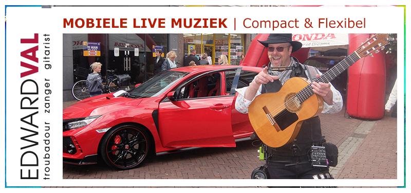Mobiele live muziek zanger gitarist troubadour Edward Val
