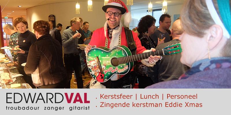 Roche 1 | Kerstlunch Almere kerstborrel personeel kerstact bedrijfs event zingende kerstman Eddie Xmas Edward Val Flevoland