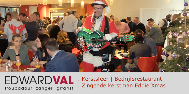 Roche 2 | Kerstlunch Almere kerstborrel collega kerst act bedrijfs event muziek kerstman Eddie Xmas Edward Val gitarist Flevoland