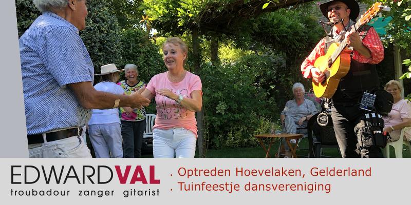 Country line dance Wil Kramer Hoevelaken | Tuin optreden zanger gitarist Edward Val | Gezellige sfeer live muziek