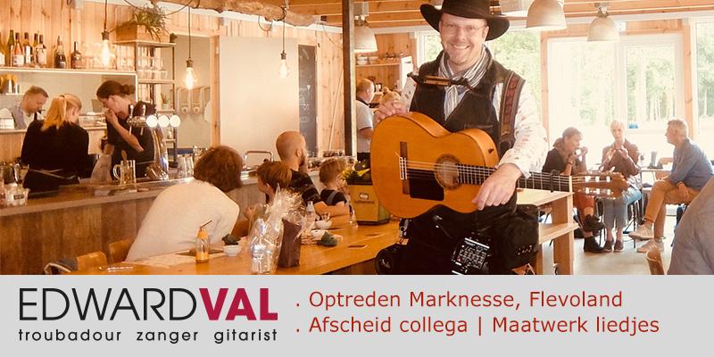 Paviljoen Proeflab Waterloopbos Marknesse | Provincie Flevoland Noordoostpolder | Hulde Afscheid Bedrijfsevent | Maatwerk liedtekst Troubadour zanger gitarist Edward Val