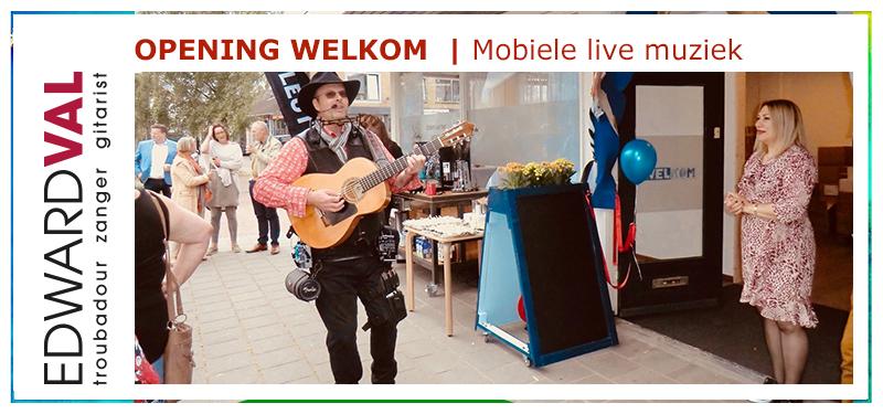 Troubadour zanger gitarist bedrijfsopening event feestelijk verrassing mobiel welkom nijkerk ggz centraal edward val | 01b