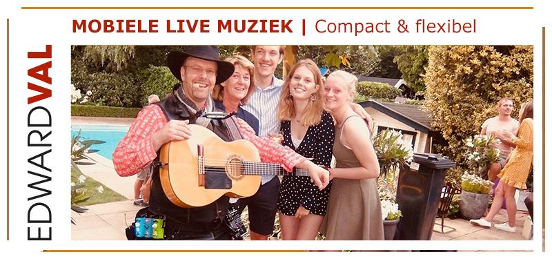 Zanger-gitarist-familie feest-Utrecht-Tuinfeest-Troubadour-Edward-Val-boeken-huwelijksfeest