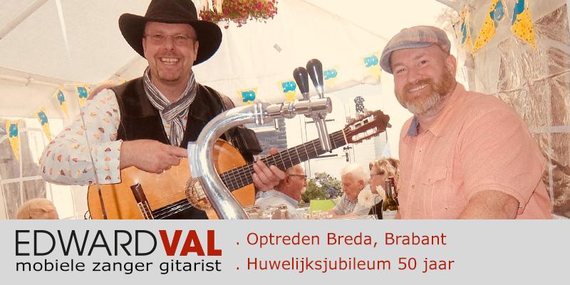 Mobiele zanger gitarist troubadour Edward Val Nijkerk | Feest Breda Brabant Huwelijksjubileum 50 jaar familiefeest tuin optreden | entertainment Gelderland boeken | 00