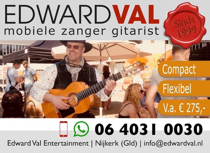 compact flexibel optreden muzikant edward val mobiele zanger gitarist troubadour bedrijfsuitje familiefeest verjaardag abraham sara