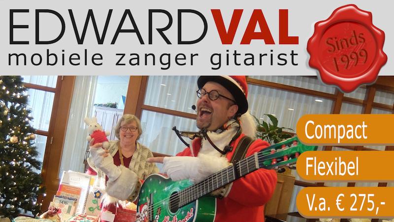 kerstact zingende kerstman singing santa xmas eddie edward val special acts christmas mobiel entertainment akoestisch zang gitaar