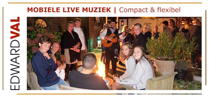 mobiele live muziek inhuren rondlopende zanger edward val troubadour kampvuur familiefeest tuinfeest bedrijfsuitje gitarist boeken