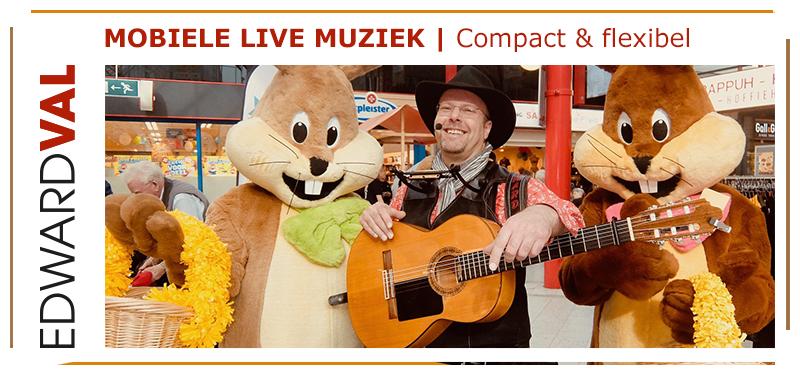 mobiele muzikant winkelcentrum straatfeest troubadour entertainer edward val nijkerk rondlopende liedjeszanger