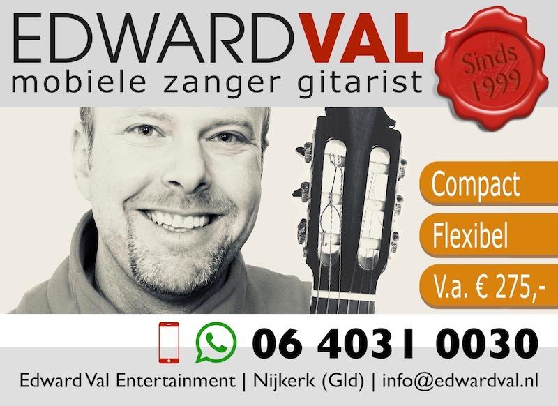 mobiele zanger gitarist troubadour edward val inhuren feest bedrijfsuitje verjaardag sarah abraham akoestische live muziek huwelijksjubileum trouwdag