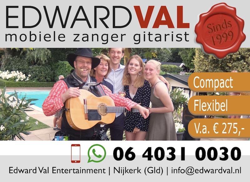 repertoire mobiele zanger gitarist edward val nijkerk gelderland entertainer artiest allround muzikant bedrijfsuitje top 2000