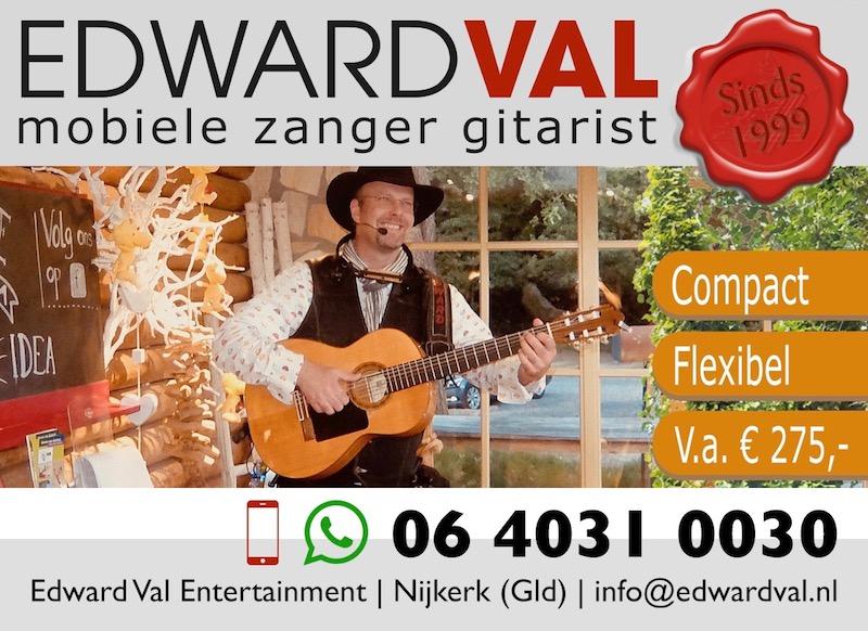volume klank sfeer zanger gitarist edward val troubadour nijkerk gelderland boeken geluidsversterking feest entertainer bedrijfsuitje verjaardag