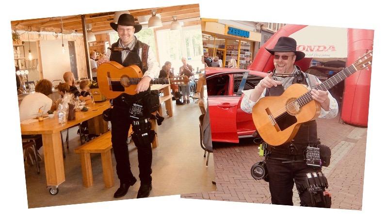 zanger gitarist feest inhuren sfeermaker mobiele geluidsversterking bose edward val nijkerk gelderland bedrijfsuitje terras winkelcentrum