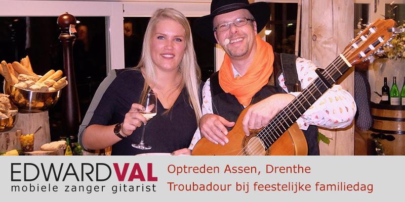 Drenthe | Assen familiedag Optreden troubadour inhuren bedrijfsuitje event zanger gitarist Edward Val familie feest boeken