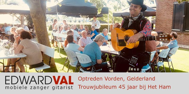 Gelderland | zutphen Vorden Optreden troubadour inhuren restaurant Het Ham bedrijfsuitje zanger gitarist Edward Val