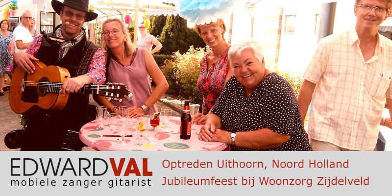 Noord Holland | Uithoorn jubileumfeest troubadour zanger gitarist edward val bedrijfsuitje live muziek