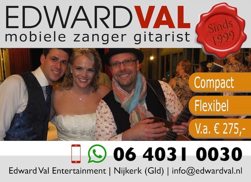 familiefeest verjaardag sara Bruiloft trouwdag bruidspaar troubadour edward val zanger gitarist feest inhuren mobiel rondlopend