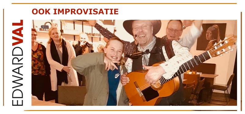 Drachten Giethoorn Steenwijk Heerenveen Sneek Feest huwelijksjubileum Zanger gitarist inhuren Edward Val improviseren liedjes grappige interactie kids kinderen speciaal familiefeest