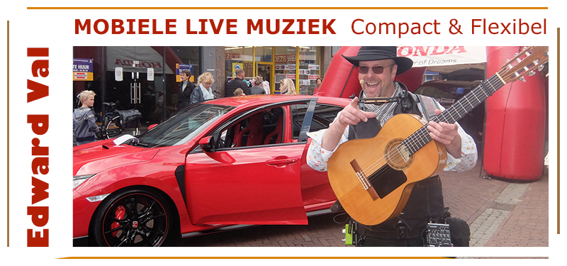 Mobiele animatie act troubadour muzikant edward val winkelcentrum tuincentrum recreatiepark vvv kantoor troubadour gelderland utrecht nootrd holland overijssel brabant