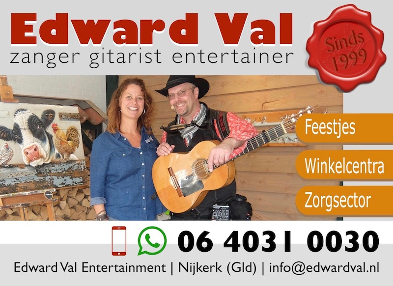 Verrasing optreden in het zonnetje zetten surprise zanger gitarist troubadour edward val hulde speciaal lied nijkerk gelderland utrecht