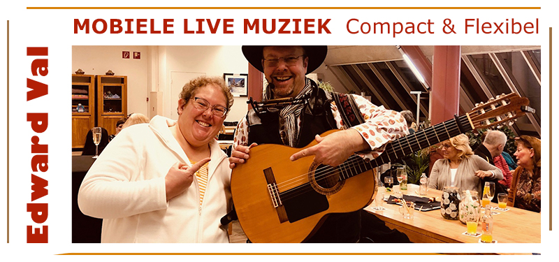 akoestische live muziek verrassing optreden surprise act origineel grappig leuke gezellig edward val zanger gitarist troubadour