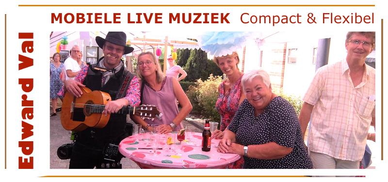 troubadour Edward Val Nijkerk feestje thuis tuinfeest bedrijfsuitje verjaardag 65 jaar mobiele muzikant gitarist noord holland brabant overijssel